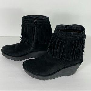 Fly London Yagi Fringe Booties Black Wedge Boots